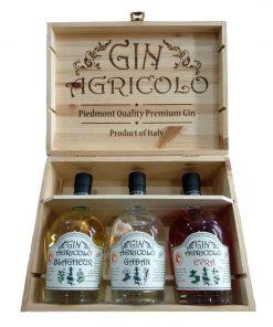 Gin Agricolo Cassetta Legno x 3 Botttiglie